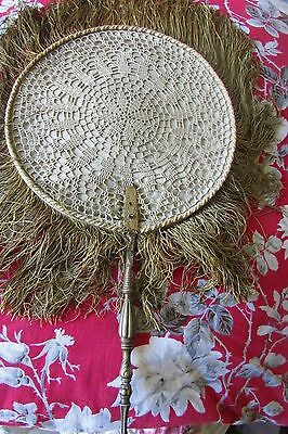 RARE ANTIQUE FRENCH HAND HELD RIGID SCREEN FAN SILK & LACE FRINGING c1850-90