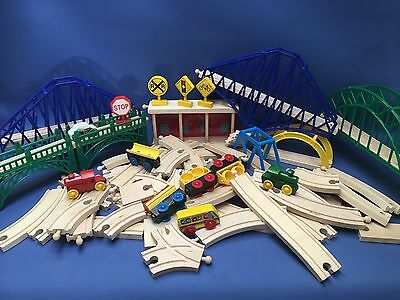Large Bundle Wooden Train Set Bridges Brio Thomas Elc