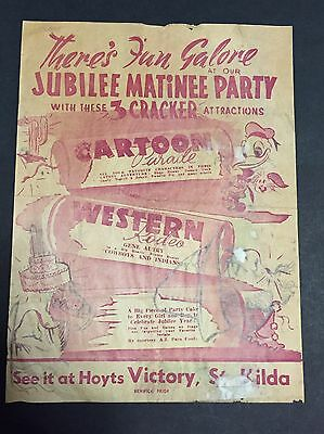 Vintage HOYTS VICTORY Cinema, ST. KILDA Daybill Poster - Jubilee Matinee Party