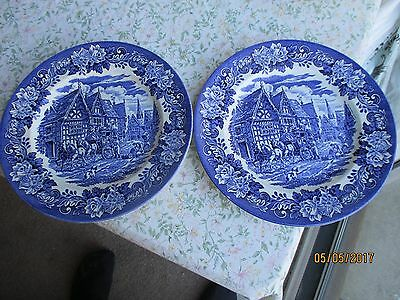 "2 x Vintage English Ironstone Pottery Ltd. ""Dickens Series"" Dinner Plates"