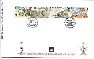 ALDERNEY 1996 Signal Regiment set FDC