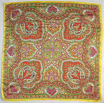 "LARGE PAISLEY YELLOW, SHAWL 41"" SQUARE, 1970s VINTAGE SCARF"