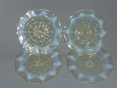 Set Of Four Powell / Webb Vaseline Glass Ice Plates Dishes