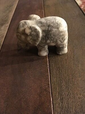 Carved Marble Elephant Figurine