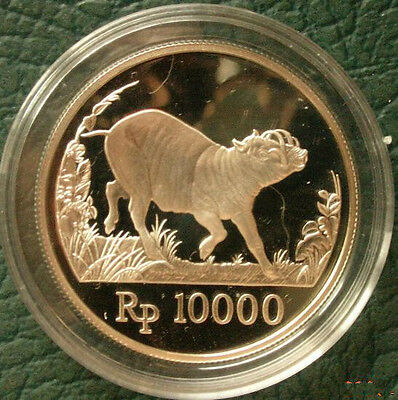 Indonesia 1987 Wild Pig 1000 Rupiah Silver Coin,Proof