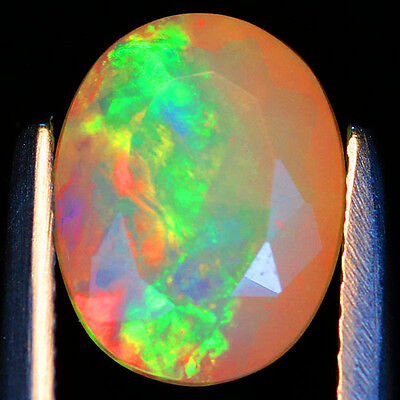1.56c Intense Red Splash!Multicolor Sparkles in Ribbon Pattern Faceted Welo Opal