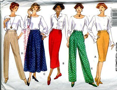 Uncut Sewing Pattern Ladies Partially Elastic Waistband Pants Skirt Size 14-18