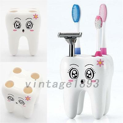 Lovelty Creative Teeth Shape 4 Holes Toothbrush Cup Holder Stand Bathroom Home