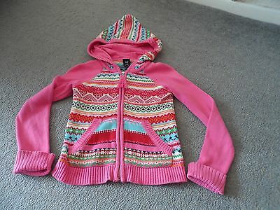 Gap Pink Patterned, Hooded Cotton Cardigan. Age 8/9 Years.