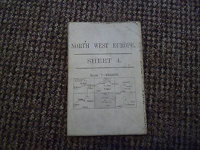WW1 1918 War office map , North West Europe , sheet 4  ,  cloth backed