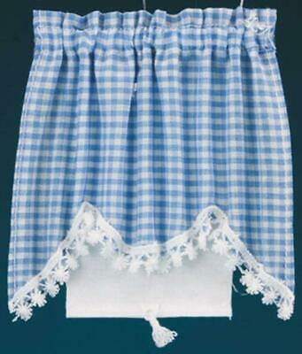 Dolls House Blue Gingham Curtain & Roller Blind Miniature Window Accessory