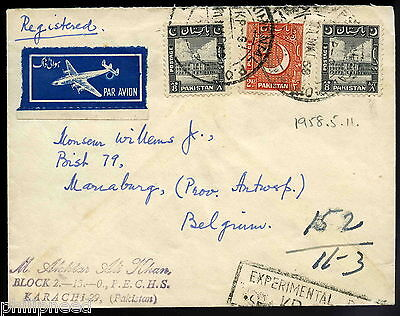 1958 Experimental Post Office Registered Airmail Cover To Belgium  [A51