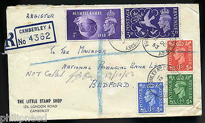 Gvi 1953 Registered Cover Little Stamp Shop Camberley Surrey [A88
