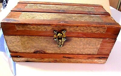 "Small Wooden Antique Doll Trunk With Handles & Latch 12X6.5X5.5""Nice!"