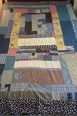 "Antique Vintage Handmade Duvet Patchwork Crazy Quilt Scotty Dog 76"" x 68"""