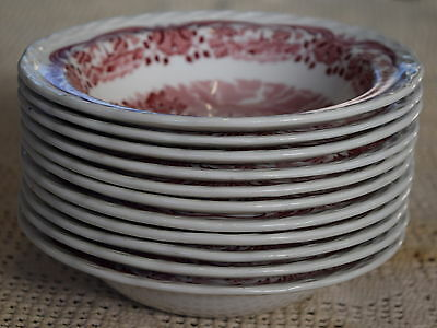 11x Vintage Bowls Pink & White GRINDLEY Scenes After Constable~Hampstead Rd