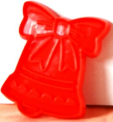 "1993 Red HUTZLER Christmas BELL w.BOW Cookie Cutter PLASTIC Impress 3"" x 2"" USA"