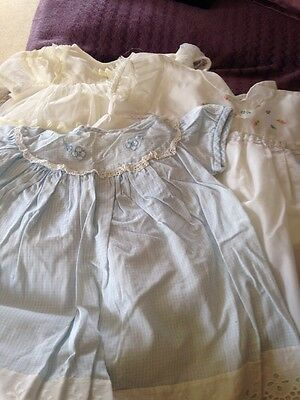 Three Little Vintage Baby Dresses With Lace And Embroidery