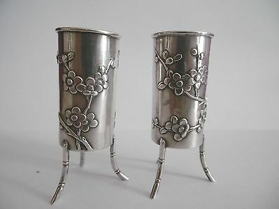 Lovely Pair Of Chinese Export Solid Silver Tooth Pick Holders / Vases C1900