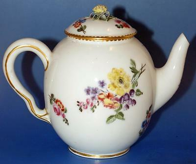 Antique Sevres Porcelain Small Hand Painted Floral  Teapot 18 C