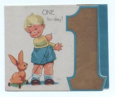 Vintage 1944 1 (One) Year Old Birthday Card, Artist VH. Child + toy bunny