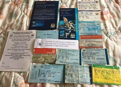 10 x Manchester City football club Tickets feb 1998 to sept 2004 MAINE ROAD FC