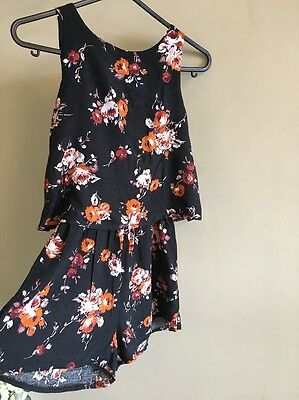 Girls M&Co PLAYSUIT Jumpsuit Shorts Black Floral With Brown Gorgeous 9 Years