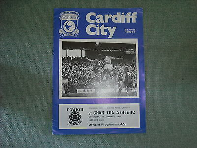 Cardiff City  V  Charlton Athletic   Div 2  14-1-84 Postponed + Insert 31-1-84