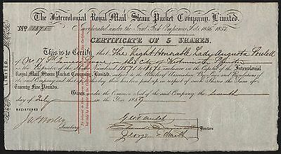 Intercolonial Royal Mail Steam Packet Co. Ltd., 5 shares of £5, 1859