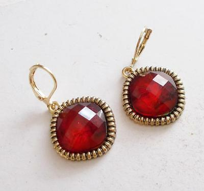Vintage 1980's Signed Napier Red Faceted Lucite Crystal Pierced Earrings