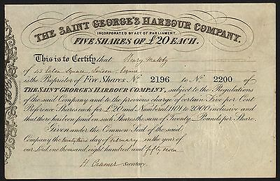 Saint George's Harbour Co., 5 shares of £20, 1857