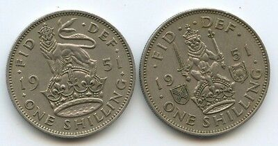 G.B. George VI, Pair of shillings 1951, 2 Coins, Very good grade