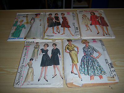 1960's Womens Sewing Pattern Lot - Gowns, Dresses, & Jacket - Size 18