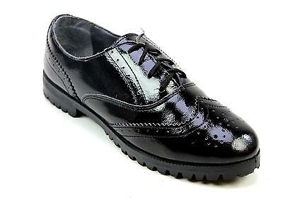 Womens Schuh Seth Lace Brogue Black Faux Leather Fashion Lace Up Shoes Uk Size 6