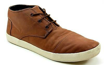 Mens Toms Paseos Mid Tan Leather Look Flat Ankle Boots Trainers Shoes Uk Size 11