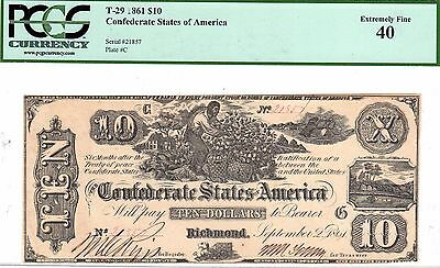 T-29 PF-1 1861 $10 Confederate Paper Money - PCGS Extremely Fine 40!!