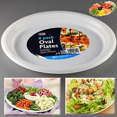 Food Platter Oval Plates Party Events Weddings Fruit BBQ Washable Bowl Salad 6pk