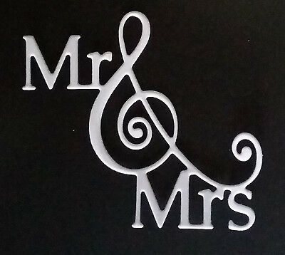 Bespoke die cut Mr & Mrs card toppers / embellishments white 8pack
