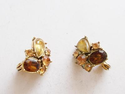 Vintage 1980's Signed Monet Gold Tone Amber Brown Crystal Earrings