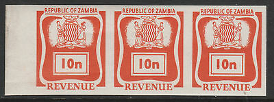 Zambia 4381 - 1968 REVENUE 10n IMPERF STRIP OF 3  unmounted mint