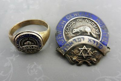 jewish judaica general hospital pin ring school of nursing 1954 sterling silver