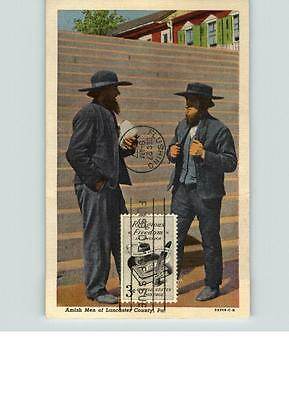 FREEDOM of RELIGION, First Day on Postcard of Amish Men of Lancaster, County, PA