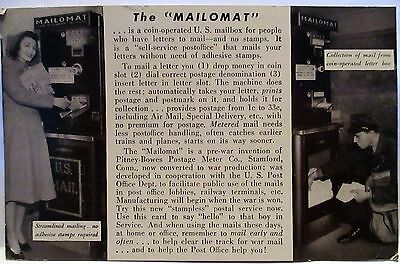 Wwii Postcard The Mailomat Postage Stamping Machine