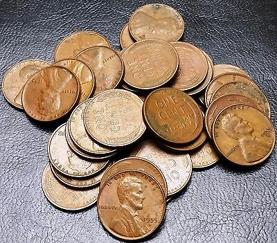 Lot of 35x 1955-D Lincoln Cents / Wheat Pennies - Great Value