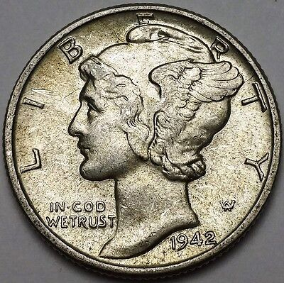 1942 Mercury Dime - 10 Cents - Great Condition - Free Combined S/H