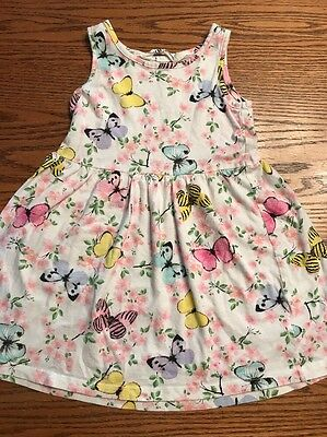 H&M Toddler Girls Size 2-4 Butterfly, Floral Print Sleeveless Dress EUC