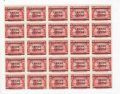Newfoundland # 130 Vf-Mnh 2 Mvlh Block Of 25 1 Variety? Surcharges Cat Val $770