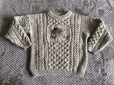 Aran Country Knitwear Ireland Child's Large L Cable Knit Sweater Sheep 100% Wool
