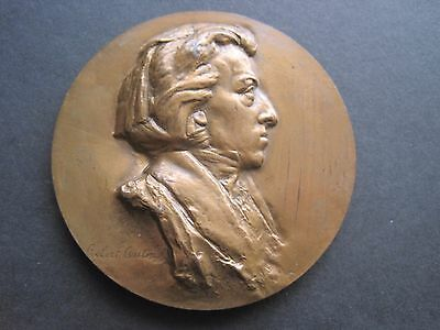 FREDERIC CHOPIN COMPOSER 1810 - 1849 BRONZE BUST MEDALLION by ROBERT COUTIN