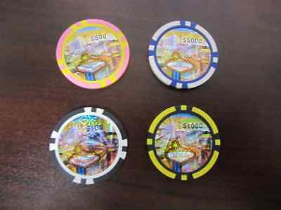 Las Vegas Poker Chip Gift Set of 4 Casino High Value + 1 FREE BONUS CHIP